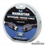 Manhattan 6 ft. PS/2 Keyboard / Mouse Extension Cable. Mini-Din-6 Male to Female